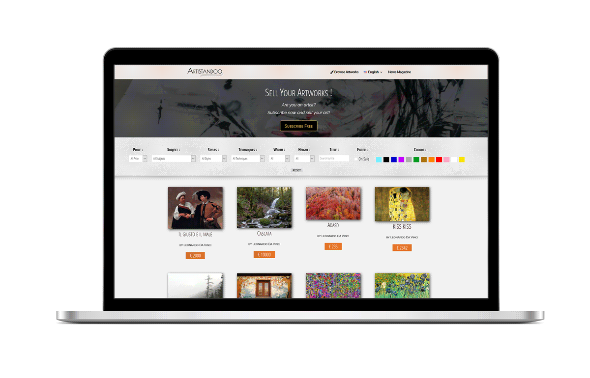 acquista quadro website in mac - ARTISTANDOO
