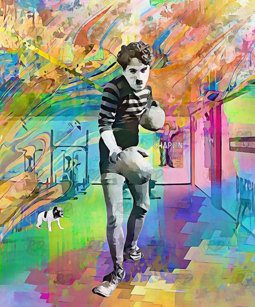 acquista quadro Chaplin e il cane scaled - ARTISTANDOO